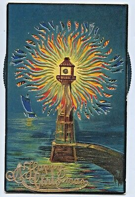 1908 Litho Mechanical Litho Novelty Kaleidoscopic Postcard Light House Alpha S73