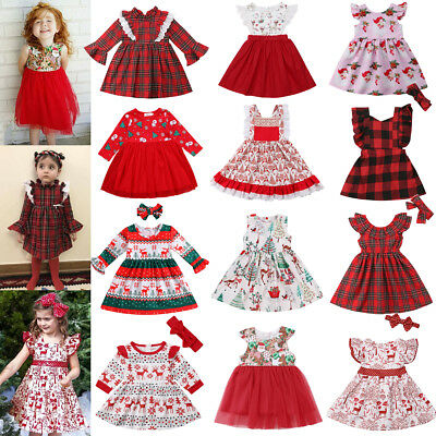 Christmas Toddler Kids Baby Girls Deer Lace Plaid Party Pageant Dress Clothes