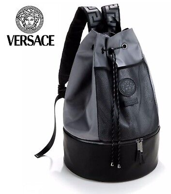 a37fa9c63b3c4 VERSACE Designer Black and Grey Medusa Backpack   Rucksack   Gym   College.  NEW