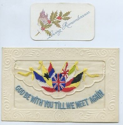 """1916 Ww1 Silk Npu French Embroidered Postcard """"God Be With You"""" Good Cond. S76"""