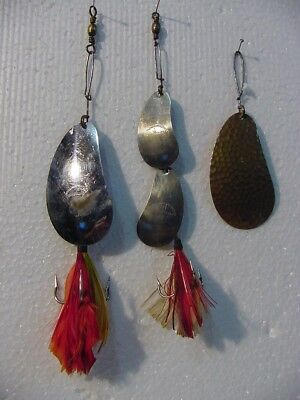 3 Vintage Northern Specialty Kidney Baits, 2 No.1's Nickel & brass & 1 double #4