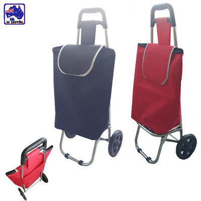 Foldable Shopping Cart Carts Trolley Bag Wheel Stainless Steel Black Red HSC0239