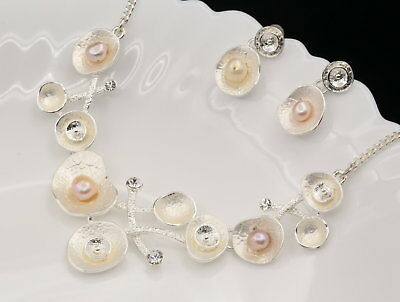 leaf branch natural FW pink pearl choker silver plate necklace drop earrings N28