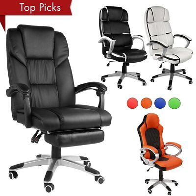 Racing Gaming Chair Office Computer PU Leather Swivel W/Arms Lumbar Support