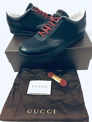 f87c2d546 Gucci Men's Yukon (353423) Sneakers Black Leather Size 12.5 Excellent Lite  Use
