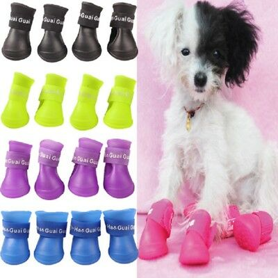 Dog Pet Shoes Boots Silicone Waterproof Cute Gel Puppy 4pcs Set Shop Protection