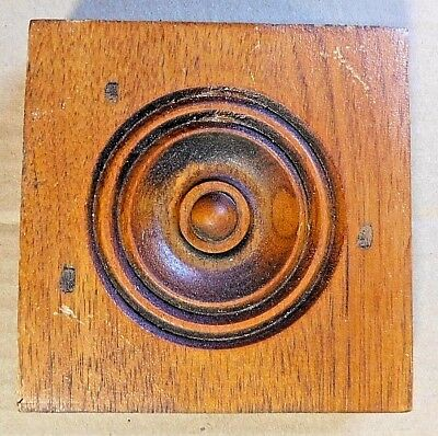 1800's Wood ROSETTE TRIM Plinth Block Door Molding VICTORIAN Butternut ORNATE