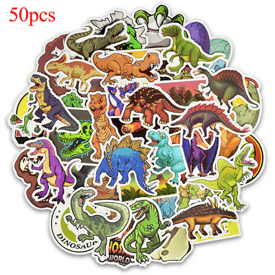50 Pcs dinosaur sticker cute anime decal stickers for children laptop suitcas Tq