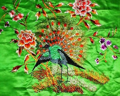Vintage Chinese Handed Silk Embroidered Scarf~Peacock With Rose Flower ~1930'S广绣