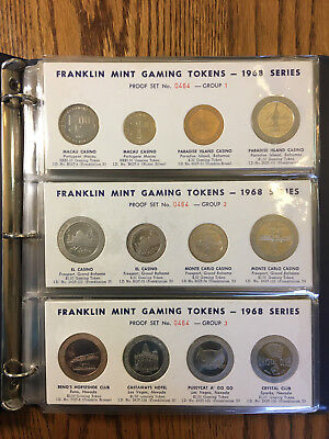 1968 Casino Gaming Token Set By The Franklin Mint 48 Proof-Like Tokens In Binder