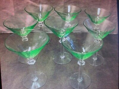 MINT RARE GREEN VASELINE MARTINI / COCKTAIL GLASSES art deco SET OF EIGHT 1940's