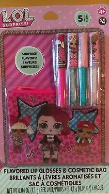 *new* Lol Surprise Flavored Lip Glosses & Cosmetic Bag Set With Surprise Flavors