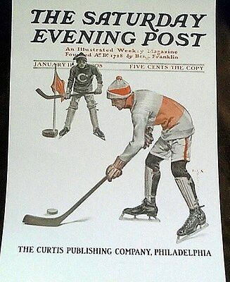 Rare Hockey Cover Frank X. Leyendecker Saturday Evening Post Reprint 1908