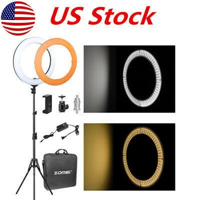 """14"""" SMD LED Ring Light Dimmable 5500K Continuous Lighting makeup Photo Video Kit"""