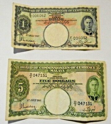 Malaya Board of Commissioners Currency Banknote $5 & $1 Circulated 1941