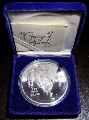 1987 Republic of Singapore Rabbit 5 oz .999 fine silver proof coin