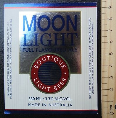1 x 330ml MOON LIGHT BOUTIQUE LIGHT  BEER AUSTRALIA BEER LABEL.