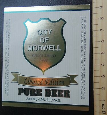 1 x 330ml CITY OF MORWELL LIMITED EDITION PURE BEER AUSTRALIA BEER LABEL.