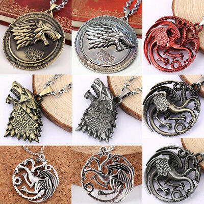 Game of Thrones House Stark Targaryen Dragon Chain Pendant Necklace Jewelry Gift