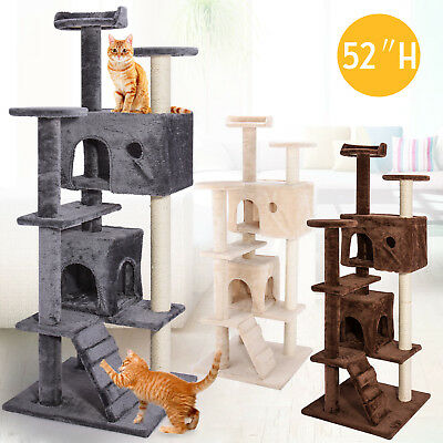 52'' Cat Tree Bed Scratch Post Tower Condo Pet Tree Furniture Kitty Play House