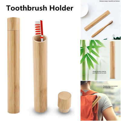 Portable Natural Bamboo Toothbrush Case Tube For Travel Eco Friendly Hand Made