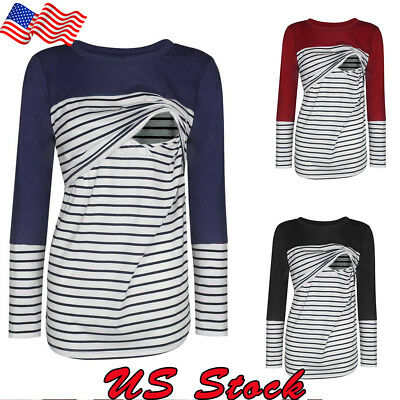Womens Pregnant Maternity Clothes Nursing Long Tops Breastfeeding Striped Blouse