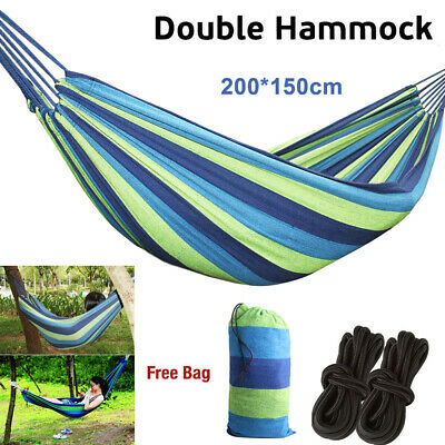 Double Large Garden Hammock Hang Bed Canvas Outdoor Camping Beach Travel Swing