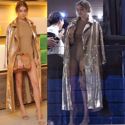 Magic Womens Sexy Sequins Trench Long Coat Jacket Parka Party Clothes Outwear