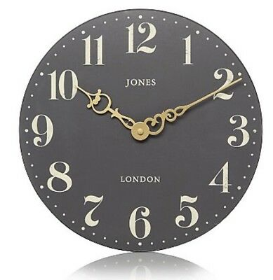 Jones Grey With Cream  Numbers & Gold Hands Wall Clock Vintage Kitchen 30cm