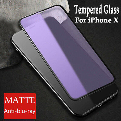 For iPhone X XS MAX 8 7 Tempered Glass Matte Anti Blue Ray Screen Protector Film