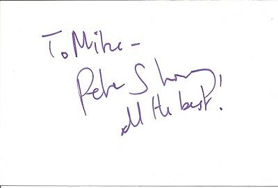 Peter Shorey actor signed white card dedicated in person autograph Z2043