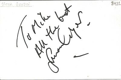 Simon Gregor actor signed white card dedicated in person autograph Z2002
