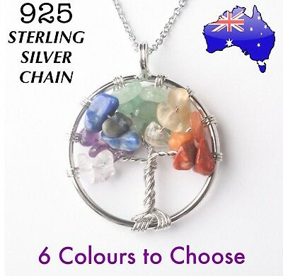 Tree of Life Genuine Natural Crystal Stone Pendant 925 Sterling Silver Chain Nec