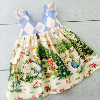 Toddler Kids Baby Girls Cartoon Floral Dress Princess Party Pageant Tutu Dresses