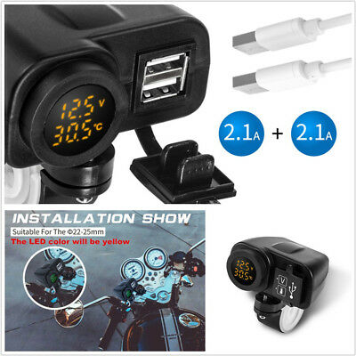 15W 2USB 2.1A+2.1A Motorcycles Handlebar Mount Charger LED Voltmeter Thermometer