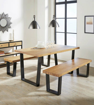 SET Oak Dining table and Bench Solid wood Rustic Industrial style 160cm