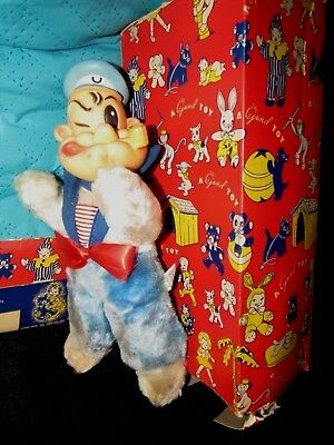 VINTAGE RUBBER FACE BLUE PLUSH BEAR DOLL POPEYE W RARE RED GUND BOX 1950s TOY