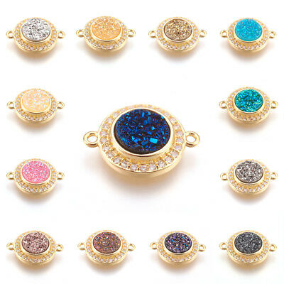 10pcs Brass Pave Cubic Zirconia Charm Connectors 1/1 Loop Druzy Resin Cabs 17mm