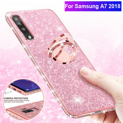 Luxury Bling Glitter TPU Stand Case Cover for Samsung Galaxy A7 2018 A6 A8 Plus