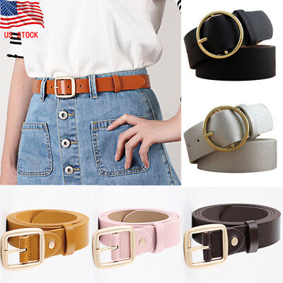 New Women Vintage Metal Boho Leather Round Buckle Waist Belt Waistband AB