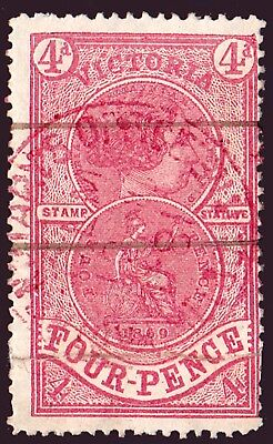 VICTORIA 1870 FISCAL ISSUE 4d RED CV$1100 (SEE NOTES BELOW RE; CONDITION)