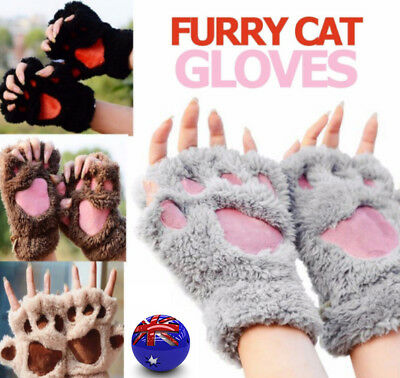 Cat Paw Gloves Furry Claw Print Half Finger Winter Warm Womens Xmas Party Gifts