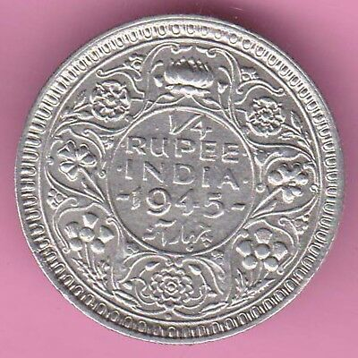 British India-1945-Bombay Mint-1/4 Rupee-King George 6-Rarest Silver Coin-33