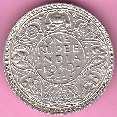 British India-1940-Bombay Mint-One Rupee-King George 6-Rarest Silver Coin-31