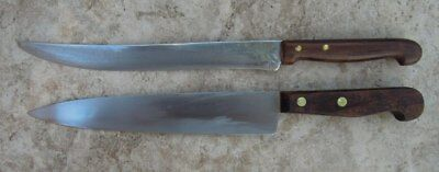 Vintage stainless knives x 2 - Skyline / Joseph Rodgers - timber handles England