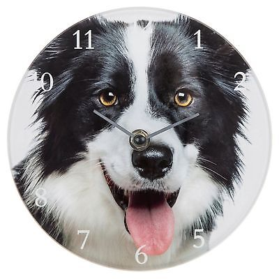 Visage Glass Clock Small Border Collie Time Wall Hanging Dog Lover Gift