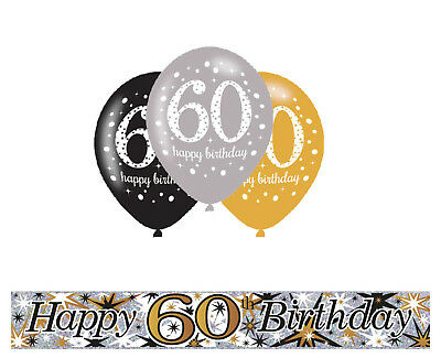 60Th Birthday Gold Black Silver Party Pack With Banner 6 Helium Balloons