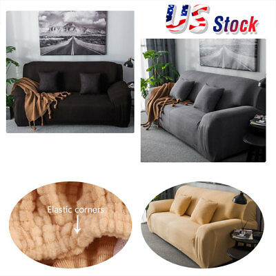 Stretch Elastic Fabric Sofa Cover Pet Dog Couch Throw Mat Covers 1-4 Seater USA