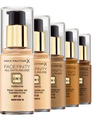MAX FACTOR Face Finity All Day Flawless 3in1 Foundation 30ml SPF20- CHOOSE - NEW