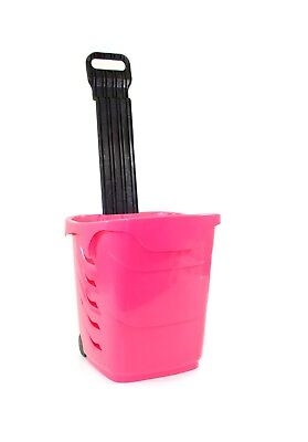 Plastic Rolling Shopping Trolley Basket 38 Litre Pack of 5 Magenta